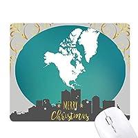 北米大陸の地図アメリカ シルエット クリスマスイブのゴムマウスパッド