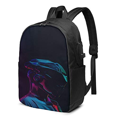 Multi-Functional Travel Backpack,17 Inch Cy-ber-Punk Shoulder Daypack Rucksack with USB Charging Port & Earphone Hole