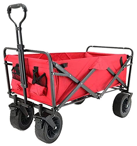 QDY -Carro Plegable Plegable Carro Utilitario Plegable Carro Utilitario Ligero Portátil Carro Rodante Carro Deportivo Todo Terreno Carro De Playa,10 Red