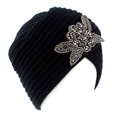 CACAZI Femmes Tricoté Chapeau Mode Fleur Strass Conception Chaud Décontracté Laine Turban Chapeau Turban Tête Casquette