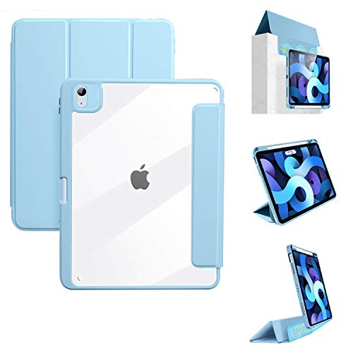 YMXuan Detachable Case for iPad Air 4 2020 10.9Inch(4th Gen)/iPad Pro 11 2020&2018, Magnetic Detachable Front Cover, Smart Trifold Stand, Transparent PC Back Shell,[Support 2nd Gen Pencil Charging]