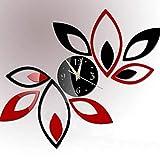 RK-HYTQWR Reloj 3D Lotus DIY Art Acrílico Espejo Etiqueta de la Pared TV Telón de Fondo Decoración del hogar, Lotus Reloj Etiqueta de la Pared con Espejo, Negro, Rojo