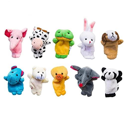 Las marionetas de dedo Conjunto animales del estilo suave lindo animales de peluche bebé Tiempo de cuentos para niños muestran la Escuela Tiempo de juego 10pcs / set, un juguete de peluche cómodo