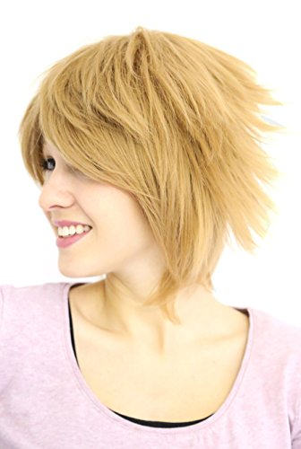 Prettyland C297 - Fransige Kurzhaar Kurze Perücke Blond Skipy Pixie Stil Cosplay Wig