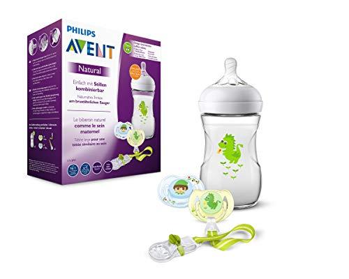 Philips Avent Philips Avent Natural Flessenset met fopspeen en fopspeen ketting, natuurlijk drinkgedrag, anti-colik-systeem draak, groen-blauw