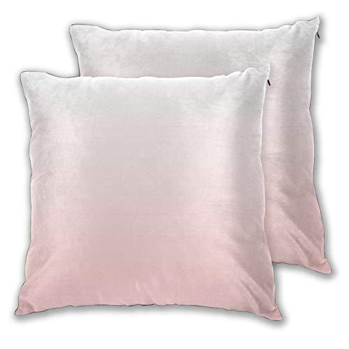 Jack16 Pantone - Fundas de almohada de cuarzo rosa degradado de 45,7 x 45,7 cm para decoración de Navidad, juego de 2 fundas de cojín decorativas cuadradas para sofá, sofá, decoración del hoga