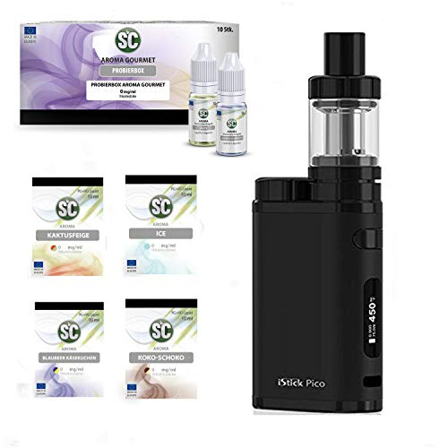 E-Zigarette SC produced by Eleaf Pico   Full Black Schwarz iStick 75W Starterset   TC (Temperaturregelung) 2600 mAh Akku   mit 10 x SC Liquids - 00mg Rauchen ohne Nikotin