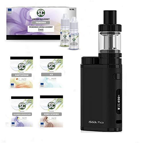 E-Zigarette SC produced by Eleaf Pico | Full Black Schwarz iStick 75W Starterset | TC (Temperaturregelung) 2600 mAh Akku | mit 10 x SC Liquids - 00mg Rauchen ohne Nikotin