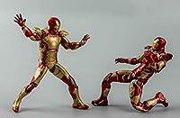 Sincepeアベンジャーズ発光アイアンマンは頭を変えたり手を変えたりできるMK43可動人形フィギュアおもちゃオーナメントコレクションMARK42アイアンマン2セット