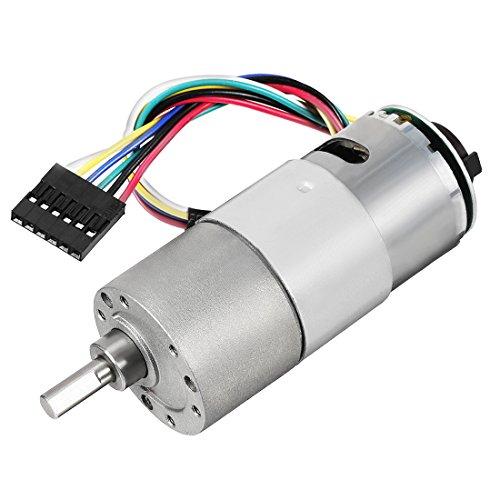 uxcell Gear Motor with Encoder DC 12V 22RPM Gear Ratio 270:1 D Shaft Metal Encoder Gear Motor Silver 37Dx76L mm for Robot RC Model DIY Engine
