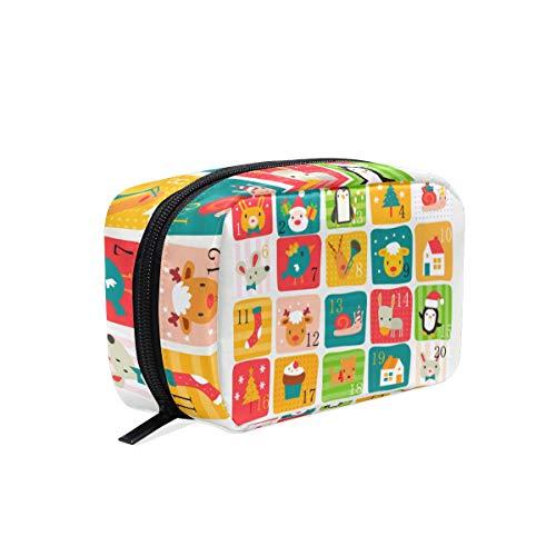 Niedlicher Cartoon-Tier-Weihnachtskalender, Kosmetiktasche, Reisetasche, Make-up-Tasche, multifunktionaler Organizer für Frauen