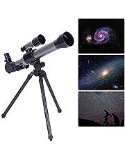 天体望遠鏡、子供初心者向け望遠鏡屋外単眼望遠鏡&ファインダースター玩具付き三脚HDシミュレーション望遠鏡20〜40回(灰色)