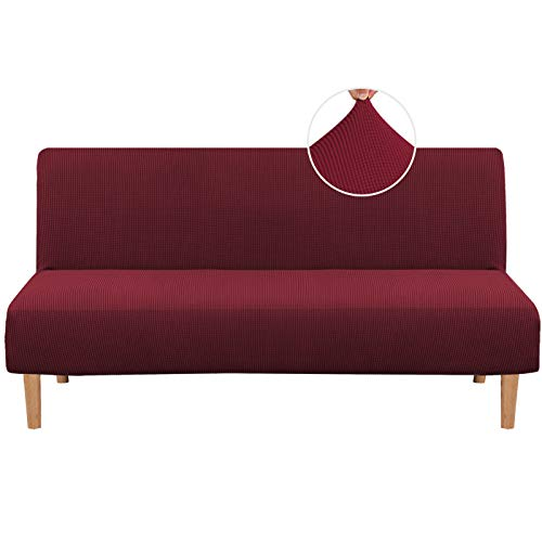 H.Versailtex Armless Sofa Bed Cover Spandex Stretch Futon Slipcover Protector Anti-Slip Elastic Full Folding Couch Sofa Shield fits Folding Sofa Bed, Burgundy