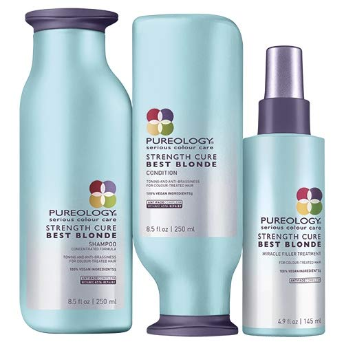 Pureology Strength Cure Beste Blonde Shampoo 250ml, Conditioner 250ml & Miracle Filler 145ml Pack