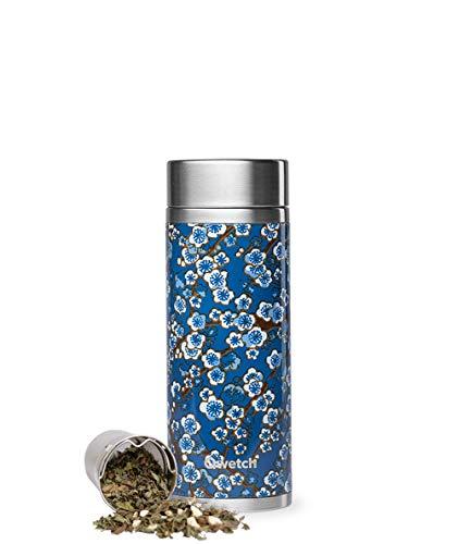 QWETCH Thermoskanne – Flowers – Blau – 400 ml