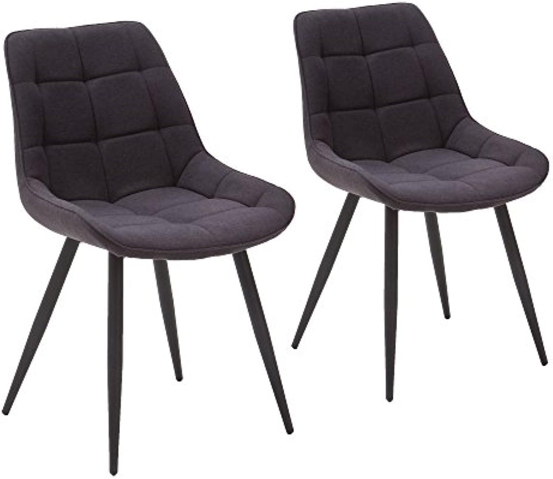 Homica 2er Set Esszimmerstuhl Polsterstuhl Vierfustuhl mit Steppung ergonomische SitzschaleStoff Grau Anthrazit Metalluntergestell schwarz matt