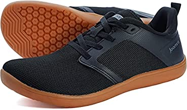 JOOMRA Mens Minimalist Trail Running Shoes Size 11 Wide Fit Low Athletic Hiking Trekking Lace Up Jogging Gym Treadmill Workout Fitness Cross Trainer Lightweight Walking Exercise Sneakers Black/Gum 44