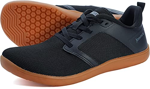 Joomra Mens Barefoot Trail Running Shoes Zero Drop Size 7.5 Male Minimalist Lace Up Jogging Workout Fitness Exercise Knit Breathable Gym Camping Hiking Walking Tennis Sneakers Black/Gum 40