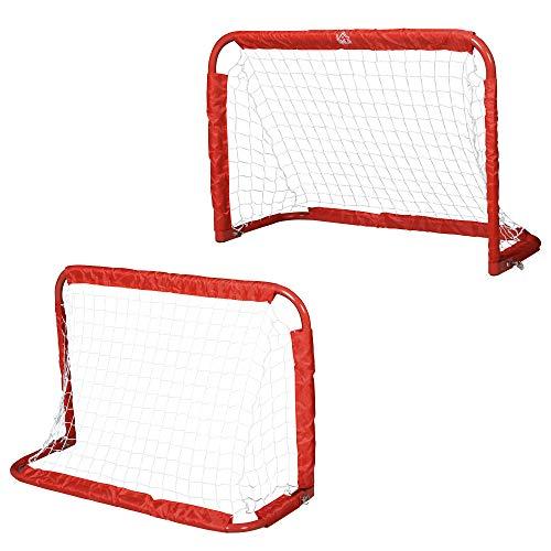 HOMCOM Set de 2 Porterías Plegables de Fútbol Puertas de Fútbol Portátil para Jardín y Exterior para Niños y Adultos Hierro Q195 Poliéster 90x36x60 cm Rojo