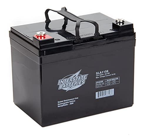 Interstate Batteries 12V 35Ah Battery (SLA1156) Sealed Lead Acid Rechargeable SLA AGM (Insert Terminal) Construction, Electric Stations, Backup Energy Storage