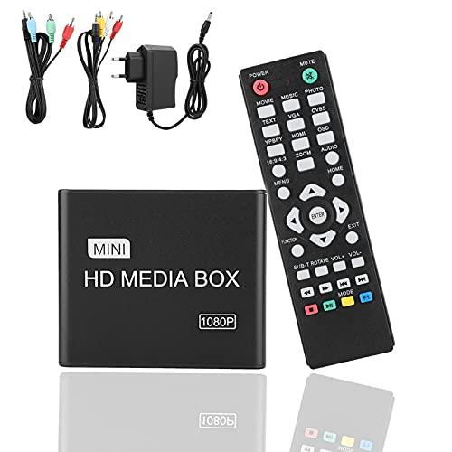 Lecteur Multimédia HDMI, Mini 1080P Full HD Lecteur Vidéo Multimédia Numérique Support Carte SD/MMC, Disque U, Disque Dur Périphériques de Diffusion Multimédia Multiples.(EU)