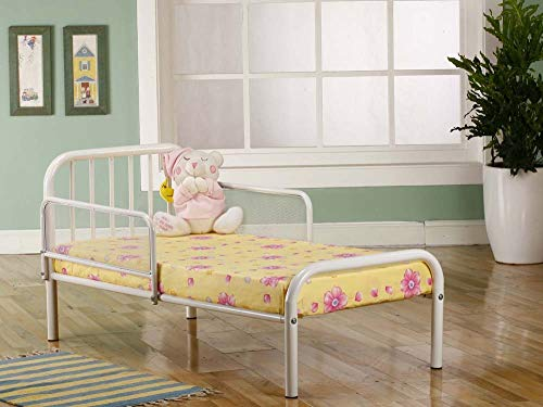 Kings Brand Furniture Metal Toddler Bed Frame with Rails, White