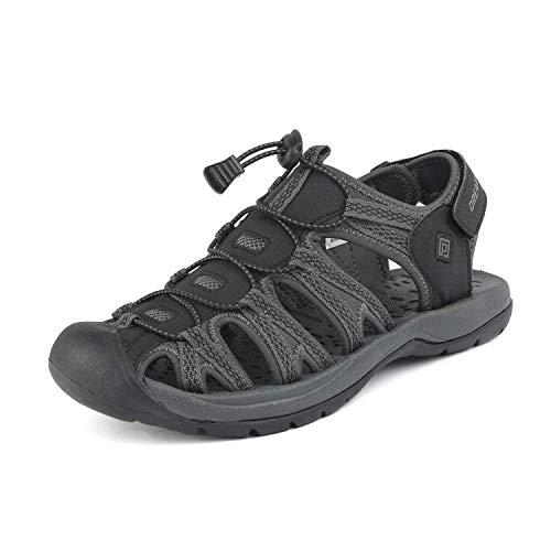 DREAM PAIRS Men's 160912-M-NEW Black DK.Grey Adventurous Summer Outdoor Sandals Size 11 M US