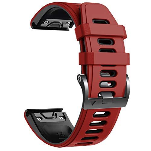 NotoCity Correa Compatible con Fenix 6X Easy Fit 26 mm Pulsera de Silicona para Fenix 6X/Fenix 6X Pro/Fenix 5X/Fenix 5X Plus/Fenix 3/Fenix 3 HR (Negro-Rojo)