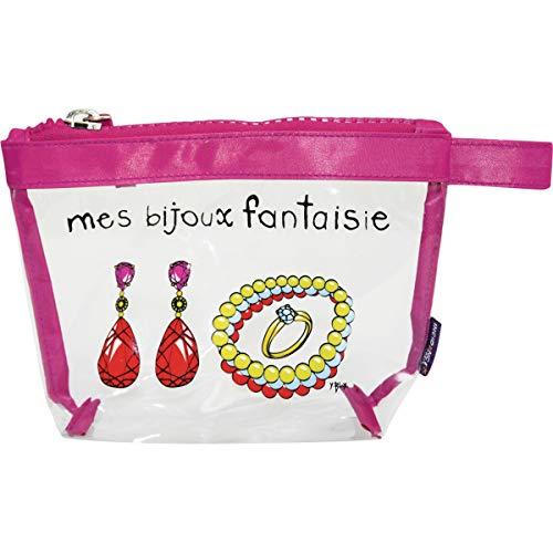 Incidence Paris 60056 Trousse Krystal Mes Bijoux Fantaisie Transparent et Rose Fermeture Zip PVC et Nylon, 19 cm, Transparent