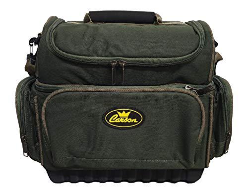 Carson – Bolsa de pesca con múltiples bolsillos con 2 compartimentos espaciosos para transportar cebos y accesorios, material resistente y correa acolchada, tela antilluvia