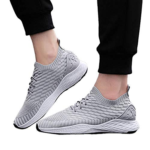 Sharemen Men's Running Shoe Casual Lace-Up Sneakers Lightweight and Breathable Shoes(Grey,US:8)
