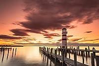 ERZAN1000ピース木製パズル日没時のノイジードル湖の灯台大人パズル のすべ