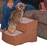 Pet Gear Easy Step II Pet Stairs, 2 Step for Cats/Dogs up to 75-pounds, Portable, Removable Washable Carpet Tread, Light Cocoa