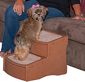 Pet Gear Easy Step II Pet Stairs 2 Step for Cats/Dogs up to 75-pounds Portable Removable Washable Carpet Tread Light Cocoa