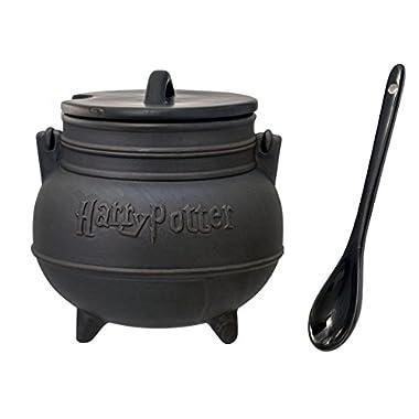 Mozlly Multipack - Monogram Harry Potter Harry Potter Black Cauldron Ceramic Soup Mug with Spoon - Novelty Character Dishware (3pc Set) (Pack of 6) - Item #S124014_X6