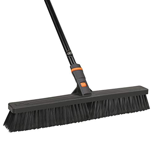 "24"" SWOPT Multi-Surface Standard Push Broom – 60"" Steel Handle – Interchangeable Handle Works with Other SWOPT Cleaning Products – Great for Indoor and Outdoor Applications"