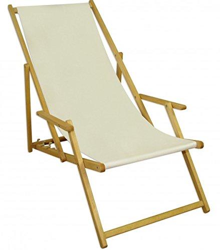 Liegestuhl Gartenliege weiß Sonnenliege Strandliege Holz Deckchair Gartenmöbel Buche 10-303 N