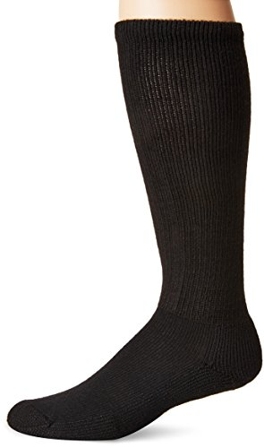 Thorlos Unisex MS Anti-Fatigue Thick Padded Over the Calf Sock, Black, XLarge