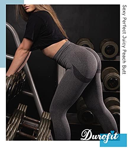 DUROFIT Mallas Pantalones Deportivos Leggings Mujer Mallas Deportivas Fitness Leggins Polainas de Yoga Training Fitness Estiramiento Gris S