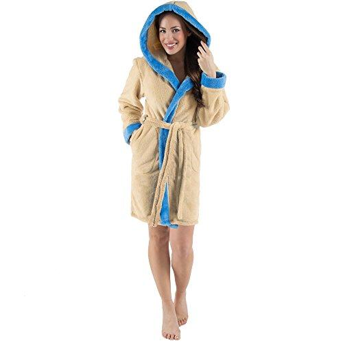 CelinaTex Kos Damen Bademantel mit Kapuze XS beige blau Sherpa-Fleece Saunamantel kurz Morgenmantel Kapuzen-Mantel