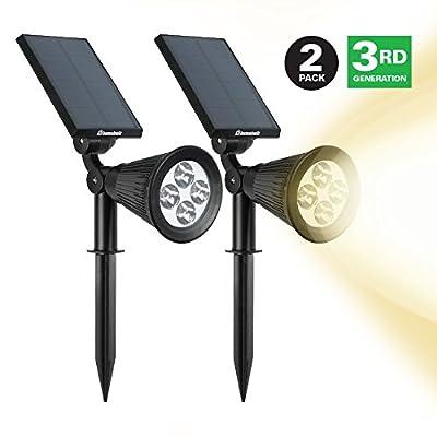 HumaBuilt Solar Powered Garden Spotlight - Outdoor Spot Light for Walkways, Landcaping, Security, Etc.