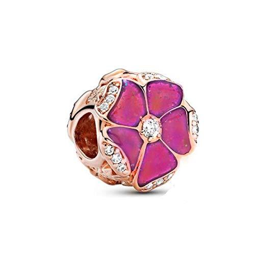 LIIHVYI Pandora Charms para Mujeres Cuentas Plata De Ley 925 Flor Rosa De Oro Rosa para Hacer Joyas De Bricolaje Regalo Compatible con Pulseras Europeos Collars