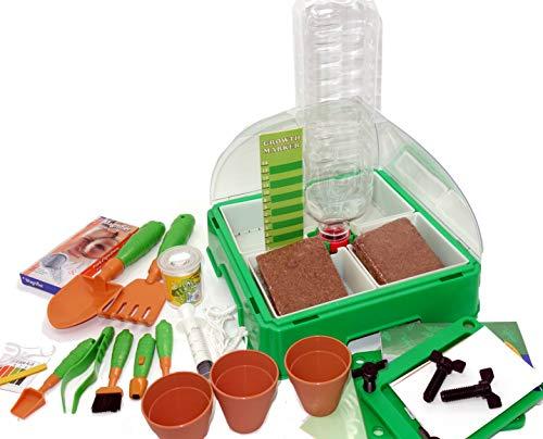 MEDUP Kinder experimentieren im Zimmergewächshaus Mini Gewächshaus für Kinder mit extra Gärtner Werkzeug