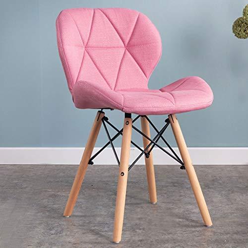 QZYQ Silla Comedor Nordic Dining Chair Silla de Dormitorio Upholstered Dining Chair, upholstered Seat, Ergonomic backrest Solid Beech Wood Legs butacas sillas Salon (Color : Pink, Size : Fabric)