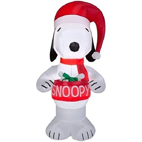 Gemmy Christmas Peanuts Snoopy Holding Dog Bowl Airblown Inflatable, 5FT