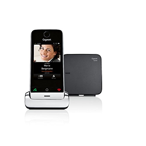 Gigaset SL910 Teléfono inalámbrico DECT (8,13 cm (3,2 pulgadas) con pantalla táctil, Bluetooth, mini USB, altavoz) de metal / negro piano [Versión Importada]