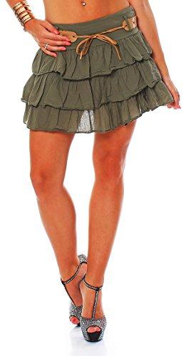 ZARMEXX Falda de volantes para mujer, minifalda con cinturón, algodón