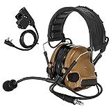 TAC-SKY COMTA III戦術ヘッドセット タクティカルヘッドセット 音ピックアップ機能 ノイズカット タクティカルヘッドセット 耳保護用具 シリコンイヤーマフ サバゲー ウトドアエアスポーツや狩り適用 PTT付き (コヨーテブラウン)