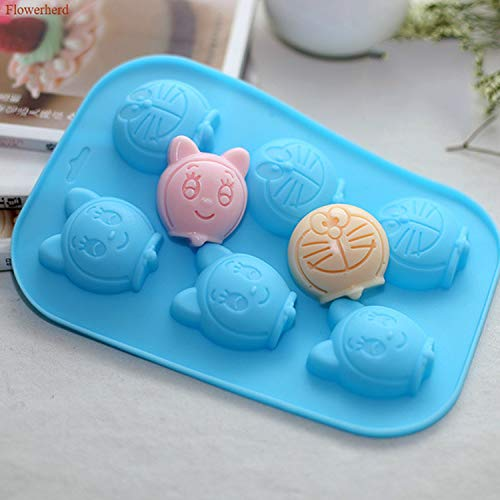 Sei cavità Stampo in silicone 3d Doraemon Torta fondente Stampo in silicone Figure di cartoni animati Stampo per cioccolato fai-da-te Stampo fatto a mano Torta Dec-