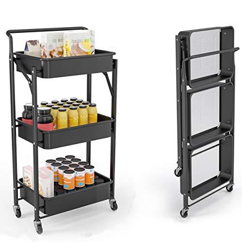 FORSTEEL 3 Tier Utility Cart, Folding Rolling 3 Tier Metal Storage...